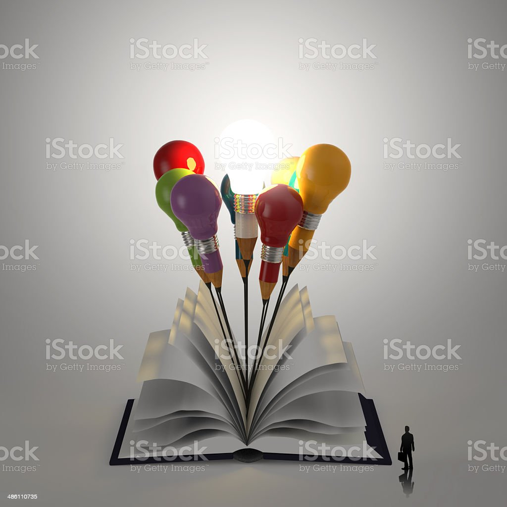 open book with pencil lightbulb 3d royalty-free stock photo