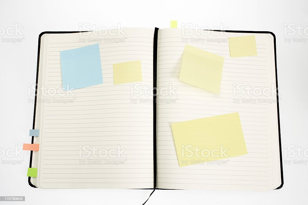 Open book with  post-its royalty-free stock photo