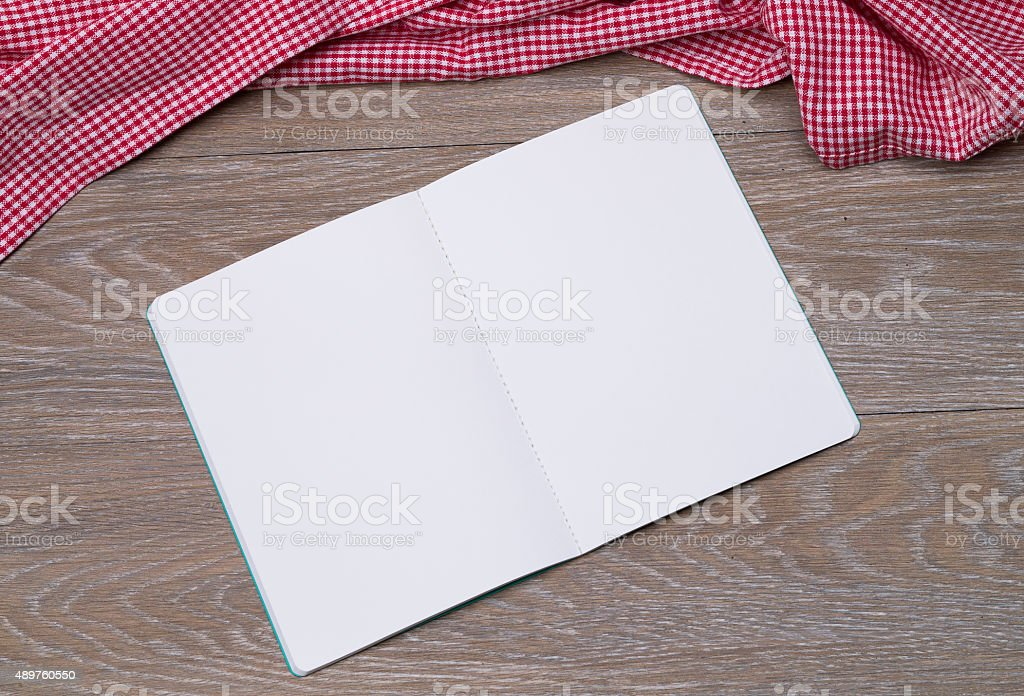 Open booklet on table stock photo