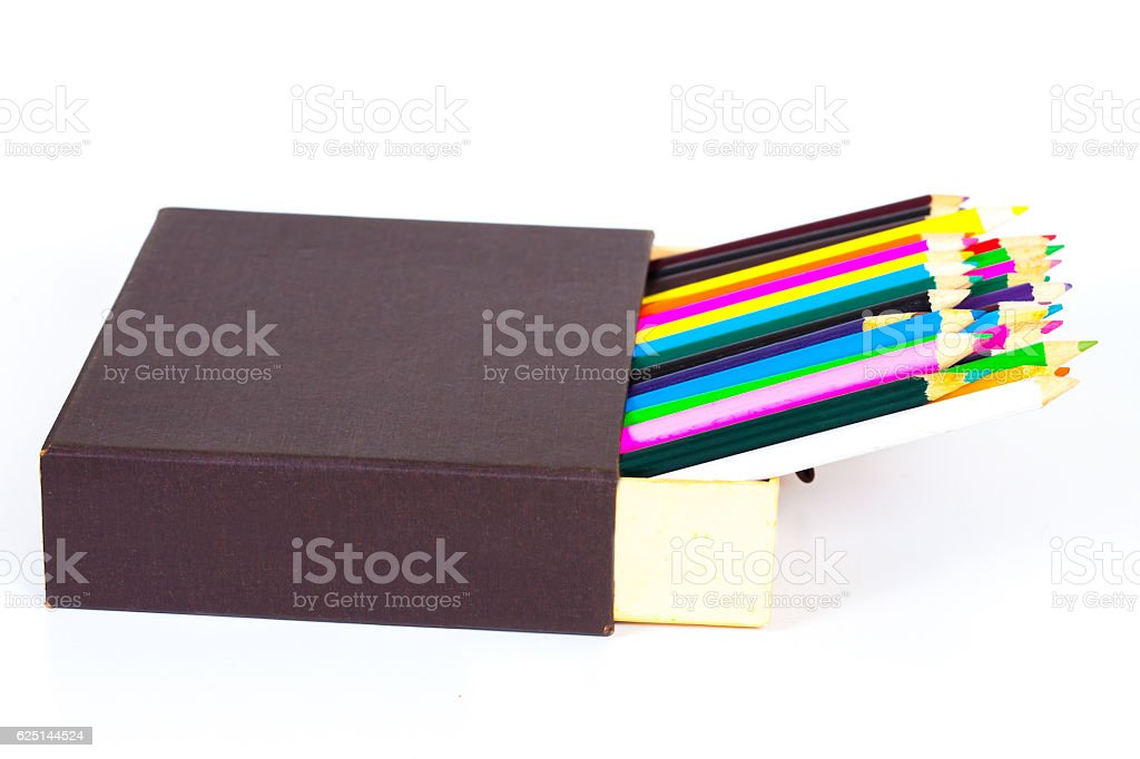 Open box and color pancil isolated on a white background stock photo