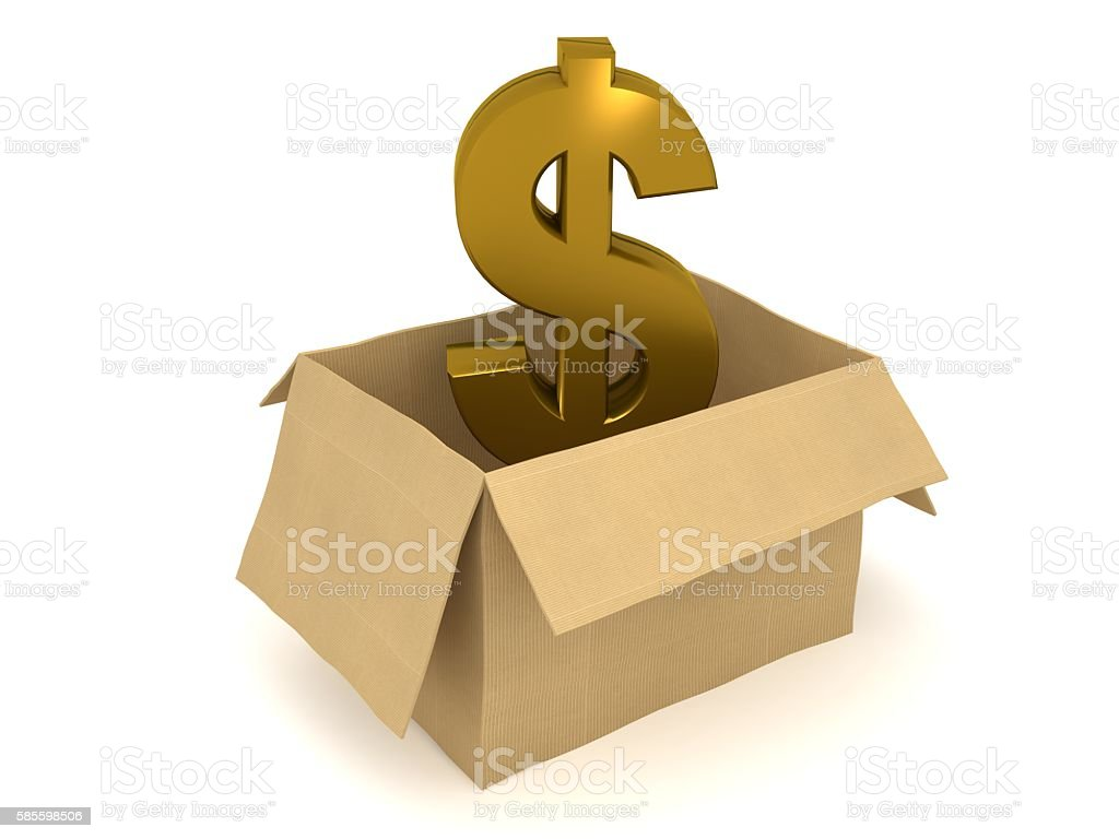 Open box dollar symbol currency isolated concept stock photo