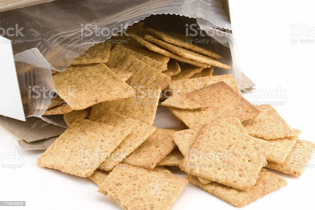 Open box of crackers stock photo