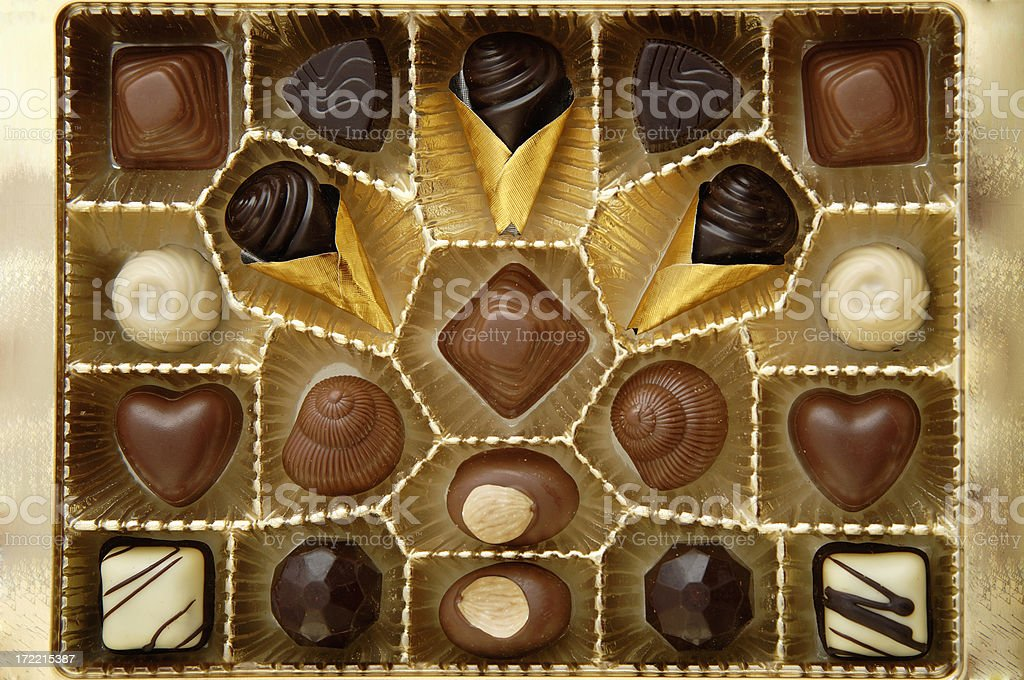 Open box with chocolates royalty-free stock photo
