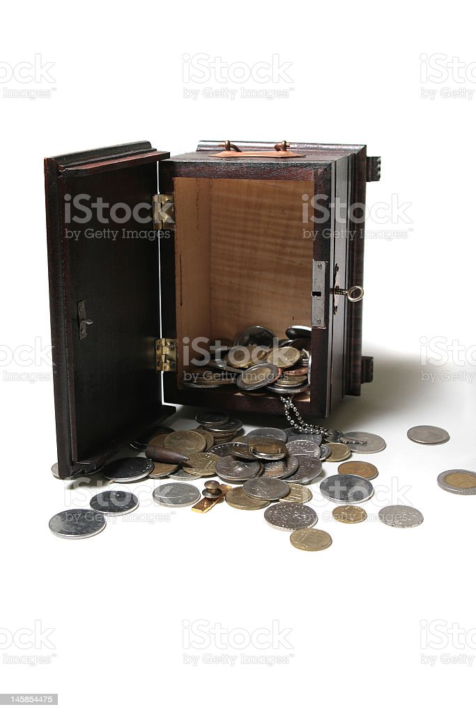 Open box with coins royalty-free stock photo