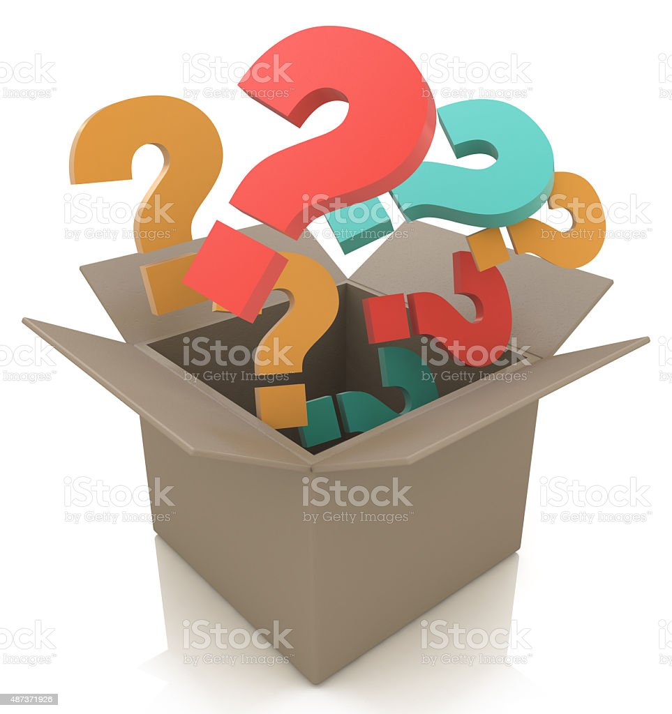 Open box with colour questions. Isolated 3D image stock photo