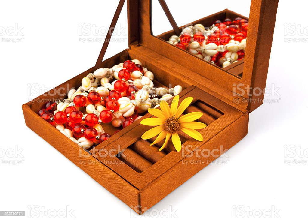 Open box with decoration and flower stock photo