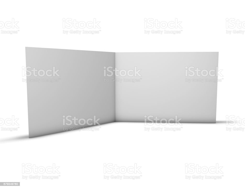 Open brochure with blank pages standing on floor. vector art illustration