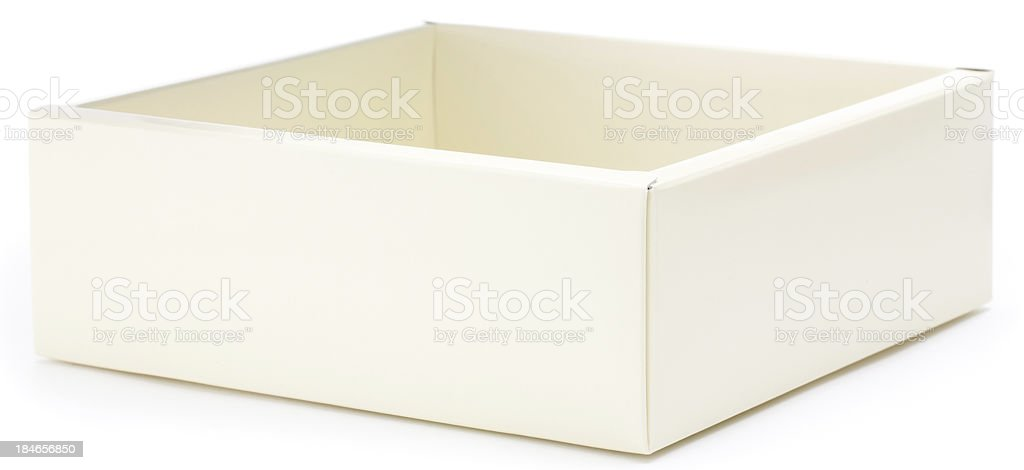 Open brown beige square gift box royalty-free stock photo