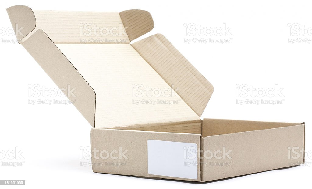 Open brown card board box with blank label royalty-free stock photo
