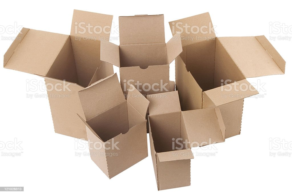 open brown cardboard boxes on white background royalty-free stock photo