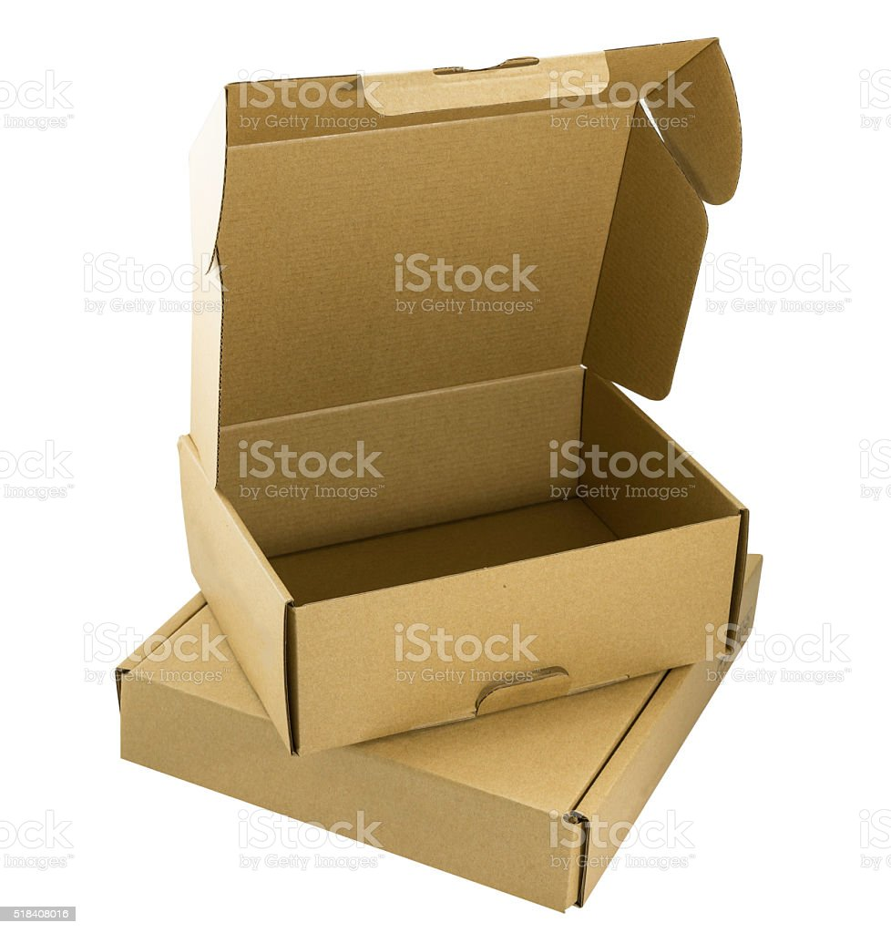 open brown corrugated carton stack on close one stock photo