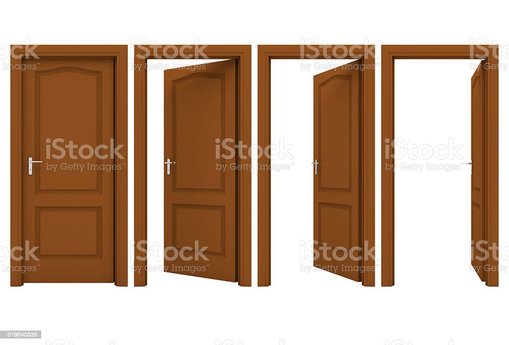 Open brown door isolated on a white background stock photo