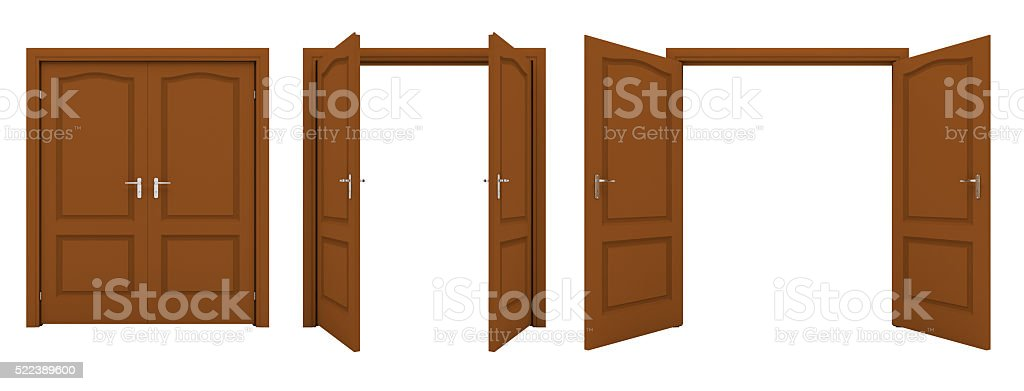 Open brown double door isolated on a white background. stock photo