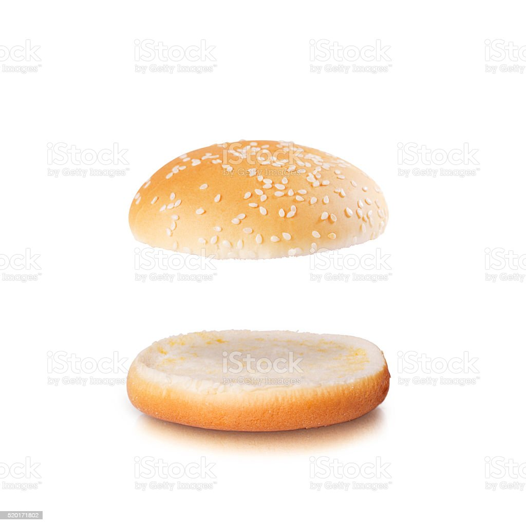 Open burger bun with blank space isolated on the white stock photo