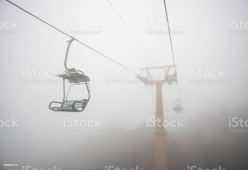 Open Cable Sightseeing at Rainy Day stock photo