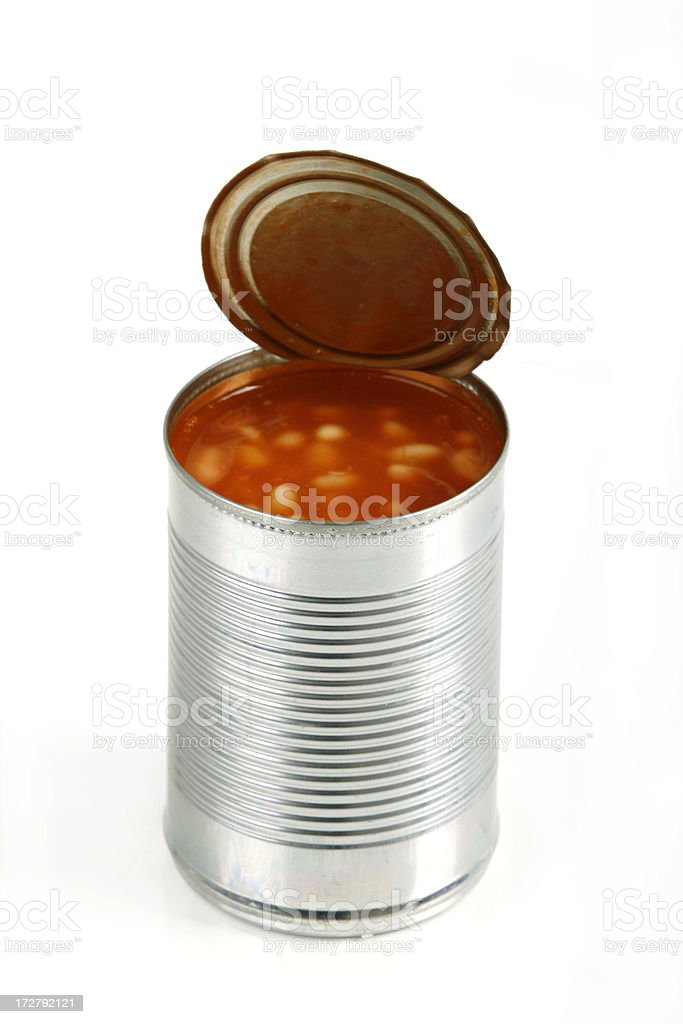 Open can of beans on white background stock photo