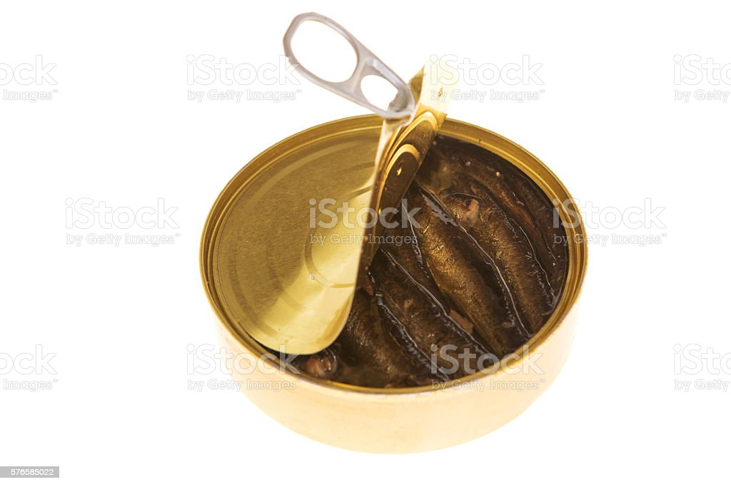 Open can of sprats on a isolated background stock photo