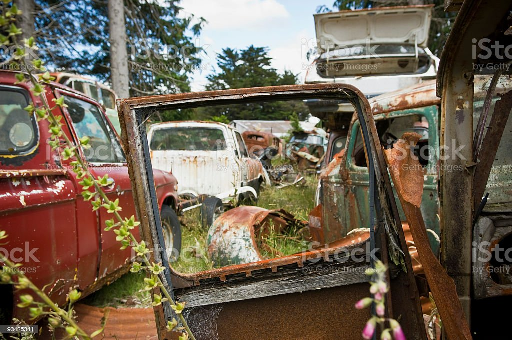 Open Car Door at Scrap Yard royalty-free stock photo