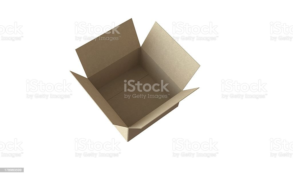 Open Cardboard box isolated on white in perfect condition royalty-free stock photo