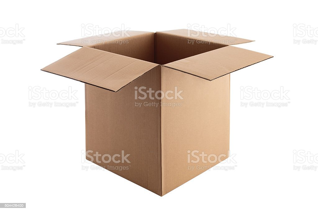 Open Cardboard box isolated on white with clipping path stock photo