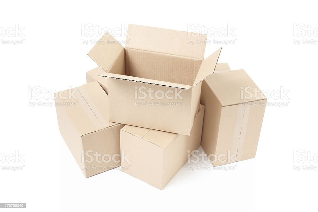 Open cardboard box on stack royalty-free stock photo