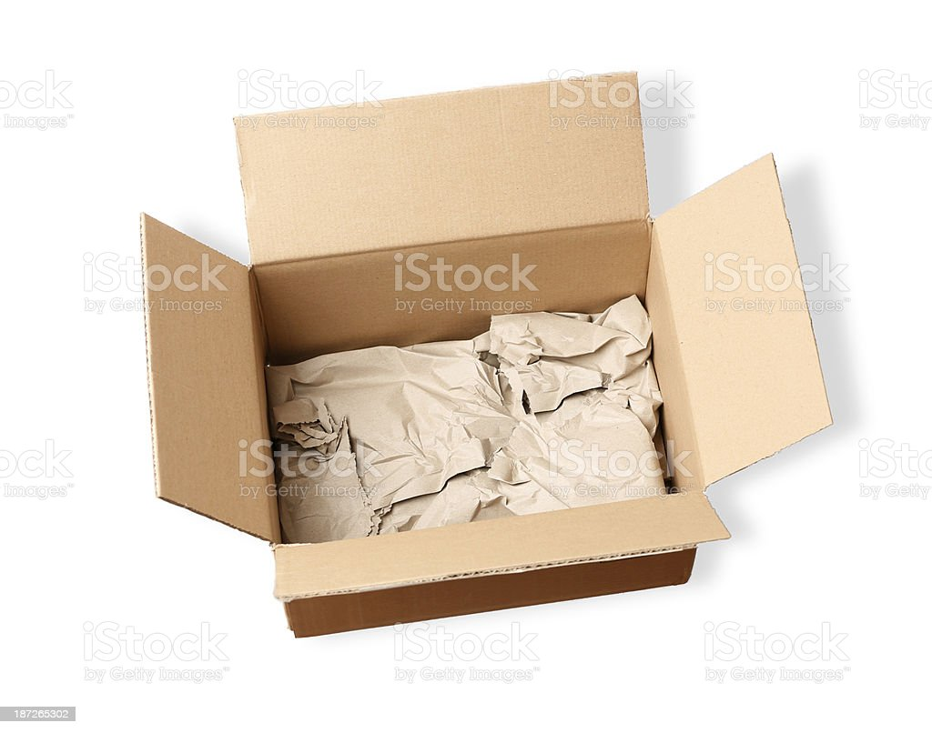 Open cardboard box on white background stock photo