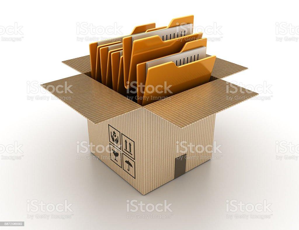 Open Cardboard Box with Computer Folders stock photo