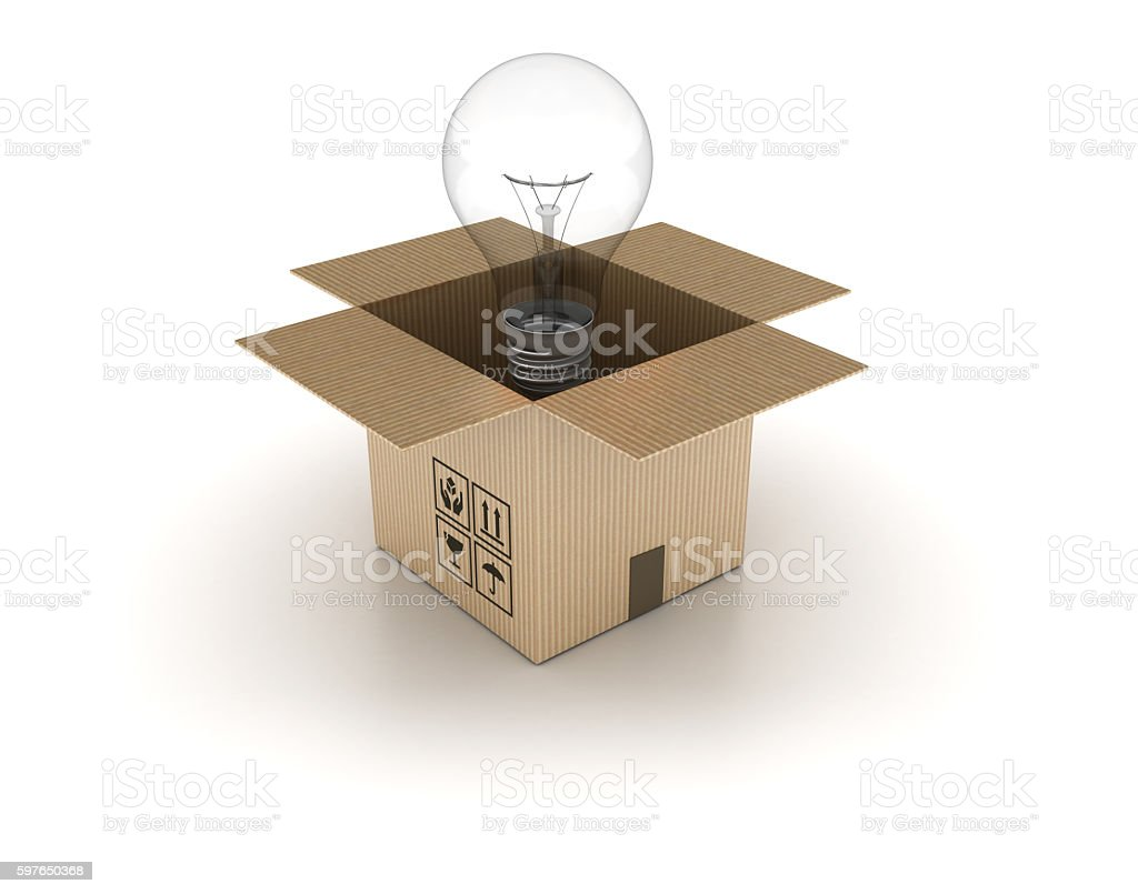 Open Cardboard Box with Ligh Bulb stock photo
