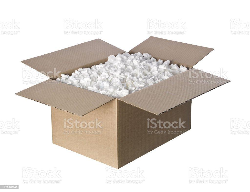 Open Cardboard box with peanuts stock photo