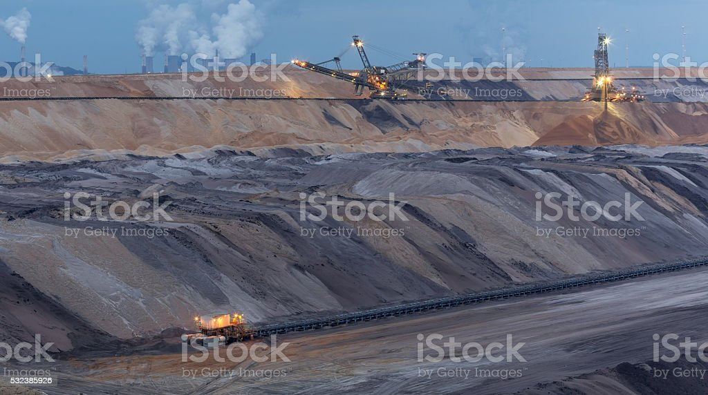 open cast mining garzweiler germany in the evening stock photo