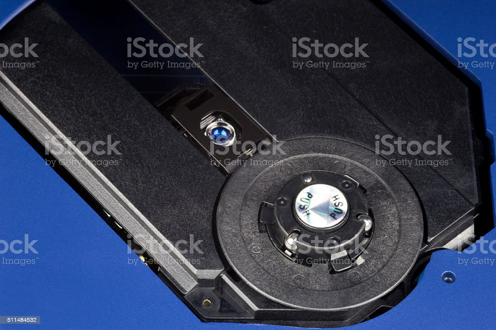 Open CD Player Showing Laser and Spindle stock photo