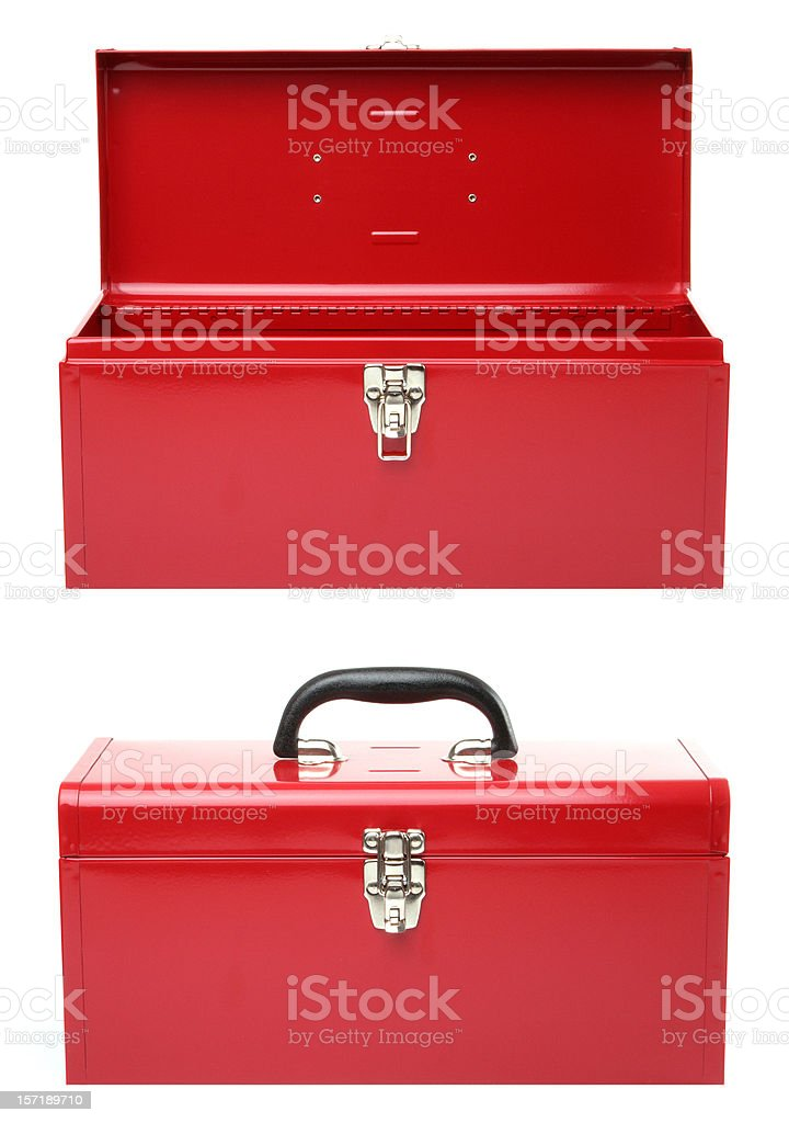 Open - closed red toolbox stock photo