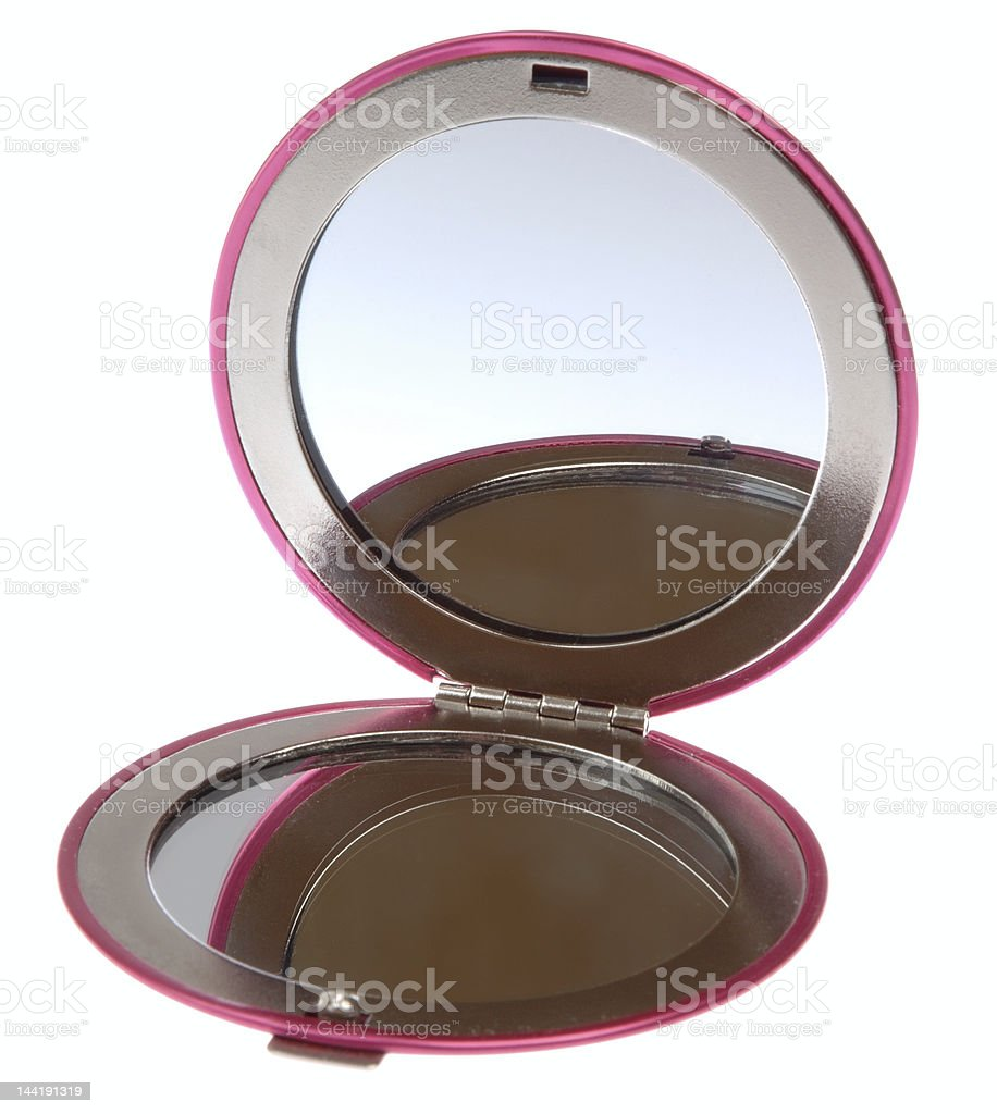 Open compact mirror on a white background royalty-free stock photo