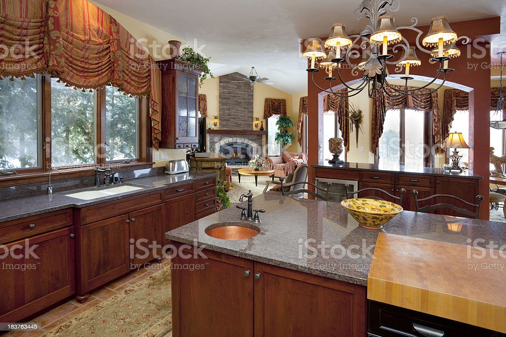 Open Concept Eat-In Kitchen With Granite Counters royalty-free stock photo