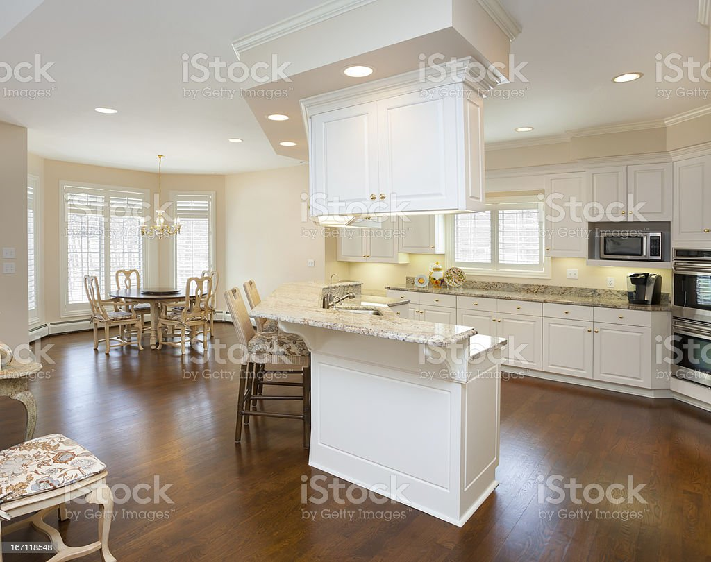 Open Concept Kitchen and Casual Dining Area royalty-free stock photo