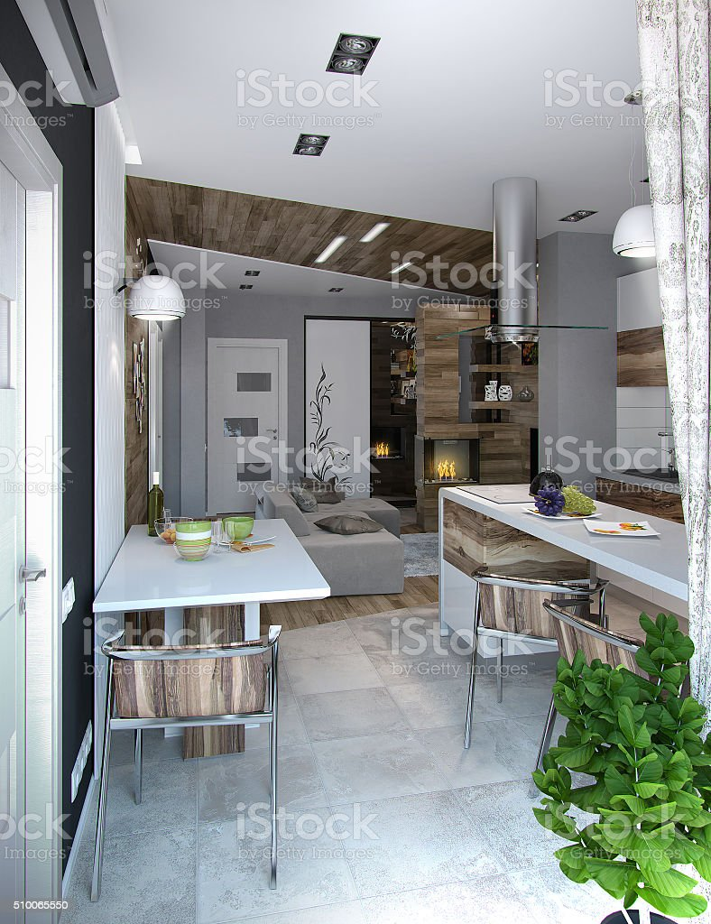Open concept kitchen and living room, 3d render stock photo