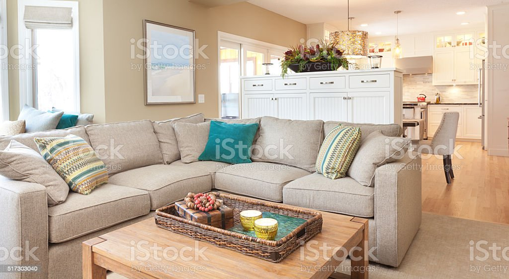 Open Concept Modern Family Room Den And Kitchen Design Stock Photo 517303040