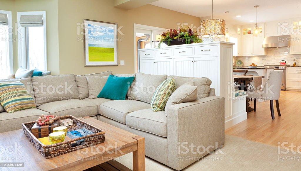 Open Concept Modern Family Room Den and Kitchen Design stock photo