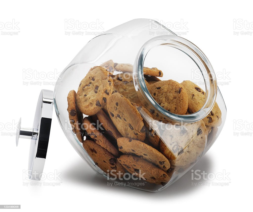 Open Cookie Jar Isolated on White royalty-free stock photo