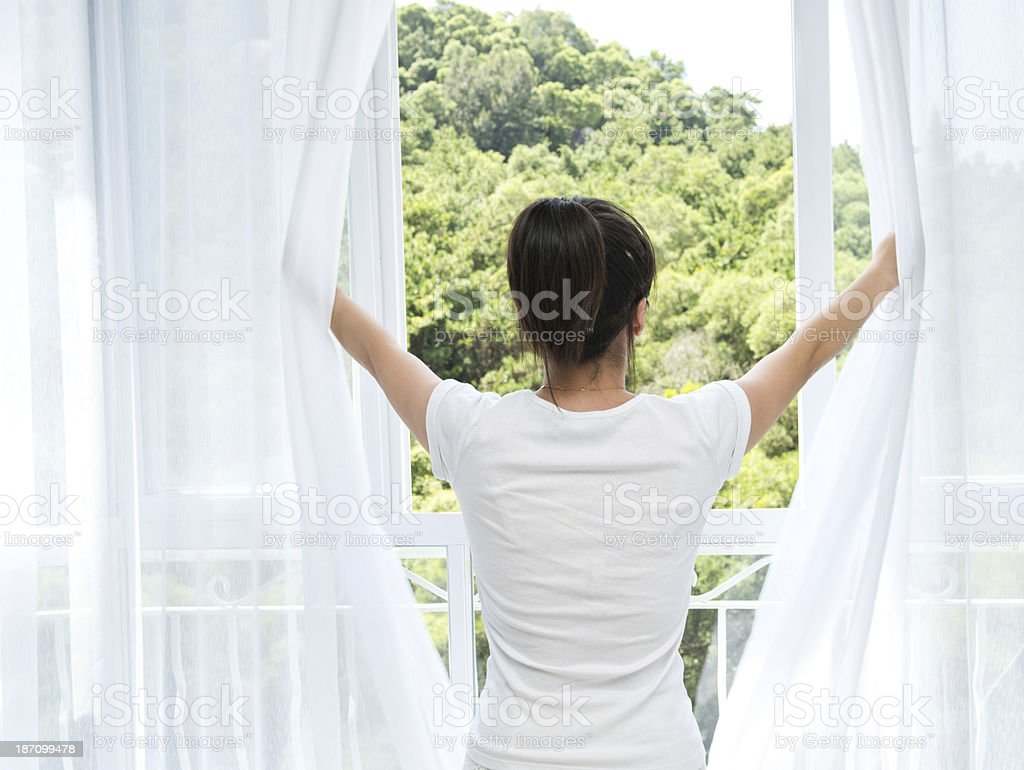 open curtains stock photo