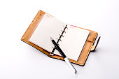 Open diary and fountain pen