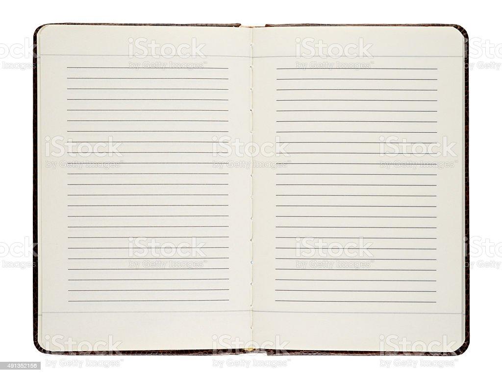 Open diary stock photo