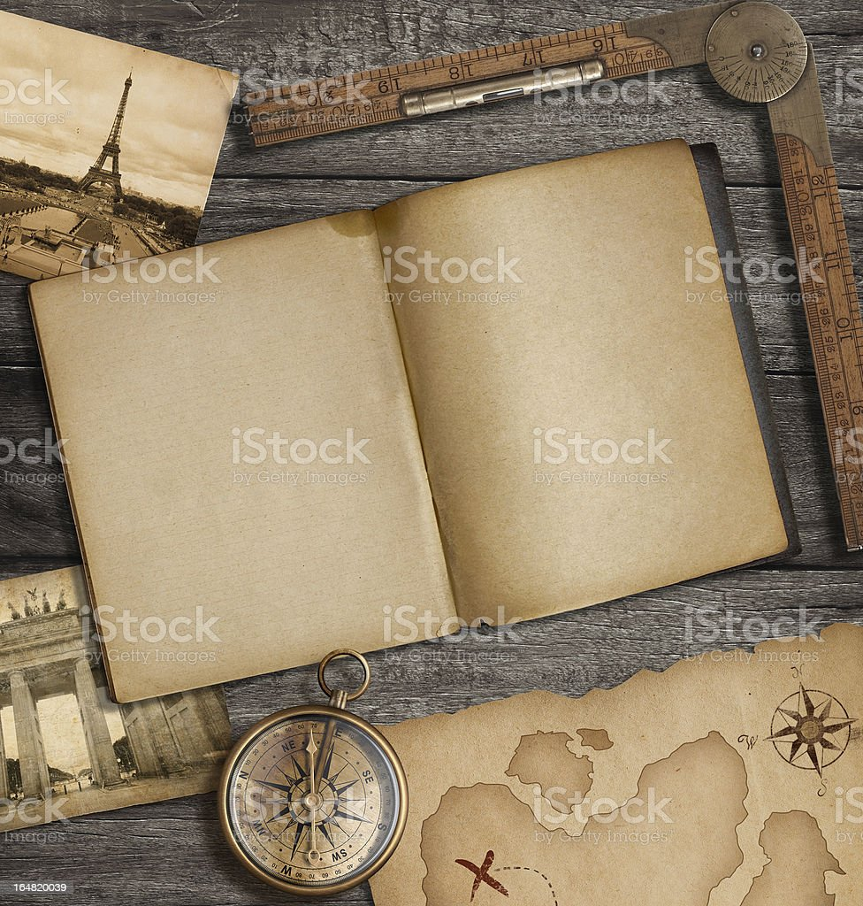 Open diary top view with old treasure map and compass vector art illustration