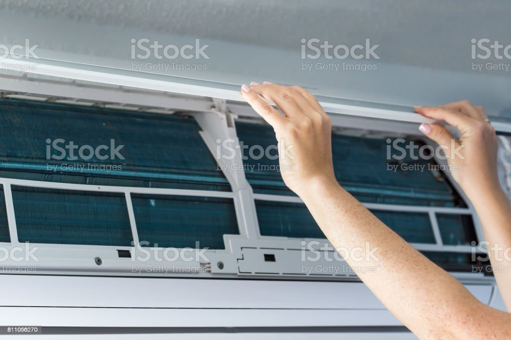 Open dirty air conditioner stock photo