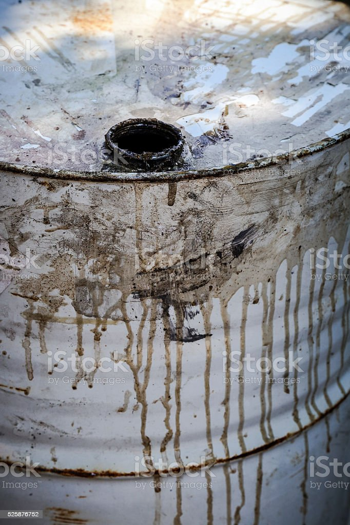 Open dirty metal chemical barrel close up stock photo