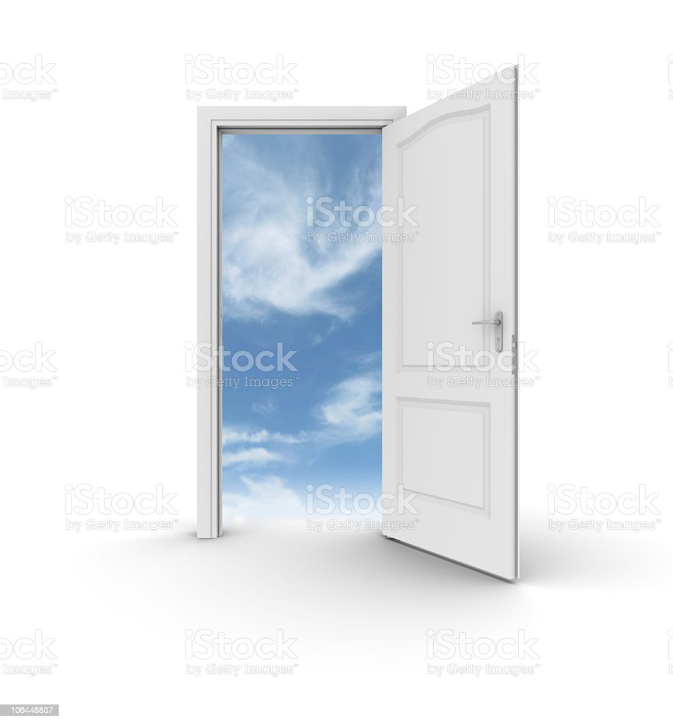 Open door and frame showing sky through opening royalty-free stock photo