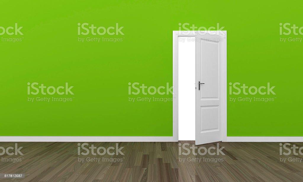 Open door green wall stock photo