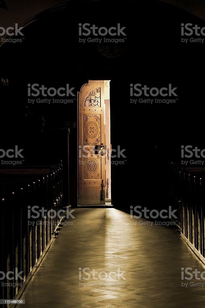 open door in church stock photo