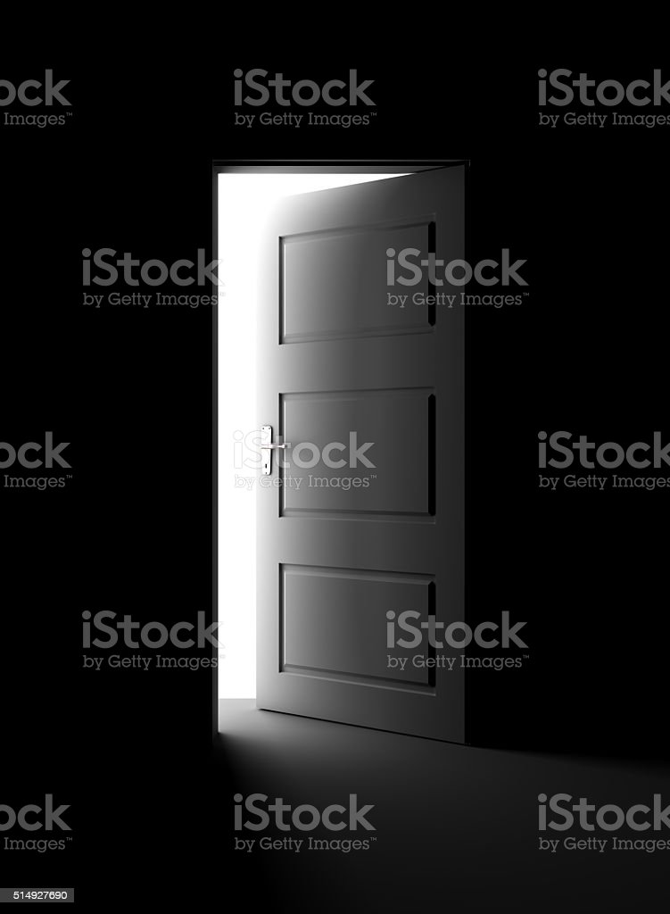 Open door in dark stock photo