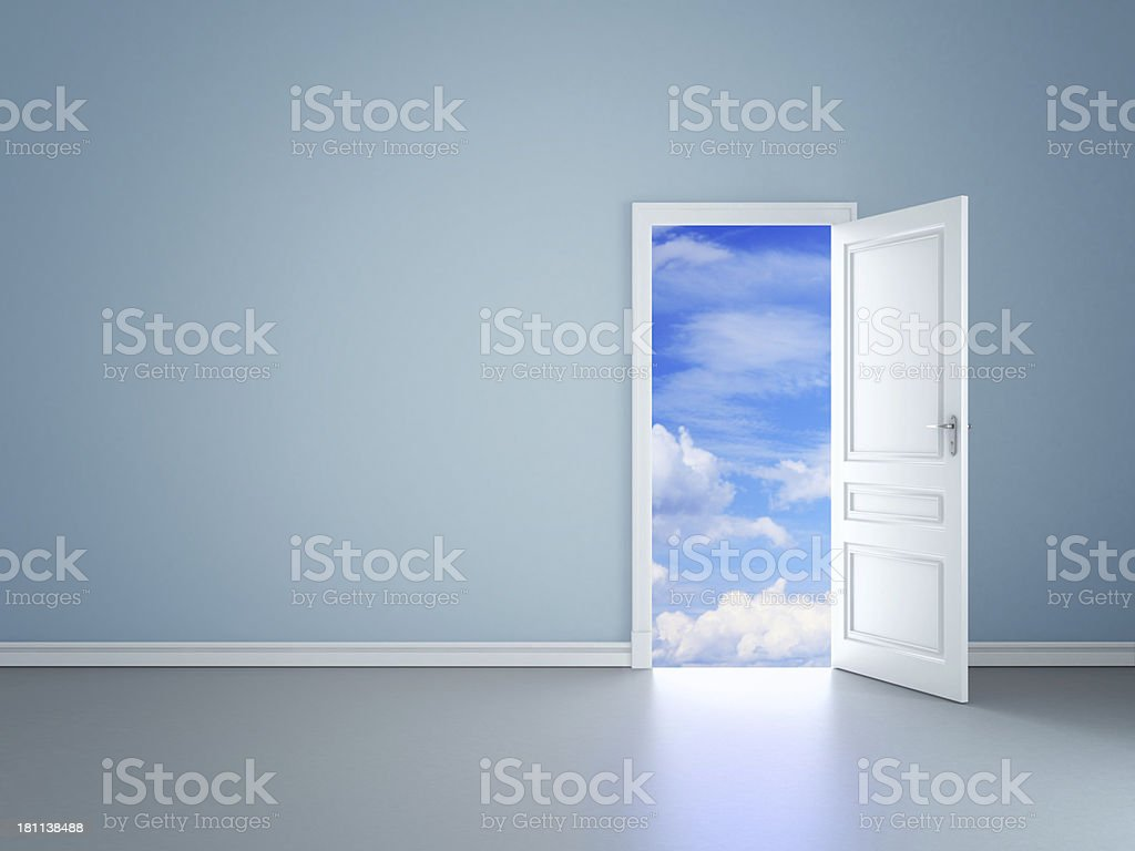open door in sky stock photo